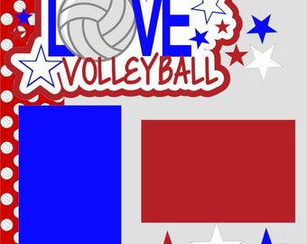 Volleyball Scrapbook Page Kit 2-page 12X12 Premade Scrapbook Layout or Page Kit-You Choose Color