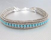 blue pearl seed bead bracelet silver beaded bracelet bead jewelry