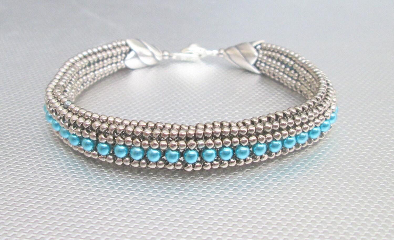 blue pearl seed bead bracelet silver beaded bracelet bead