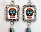 Mexican Day of the Dead Prieta Sugar Skull Earrings -Mini frames- Scary and Lovely, Black aurora borealis bead. They look great with denim!