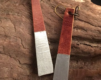 Silver Dipped Leather Earrings