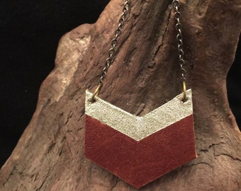 Gold Sparkle Leather Chevron Necklace