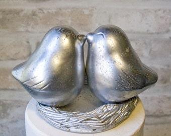 Mercury Glass Finish Love Bird Cake Topper
