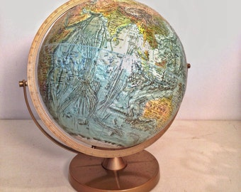 vintage world globe - Repologe World Ocean Globe on stand