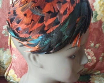 Vintage 50s Black and Orange Feathered Hat by Valerie Modes