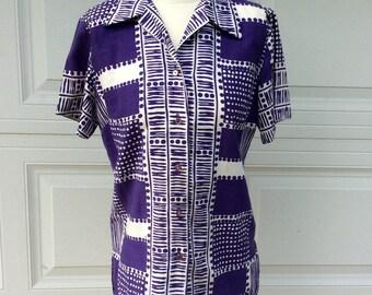 VTG Purple Alex Coleman Button Up Shirt // Hawaiian Shirt // California // Collared Shirt