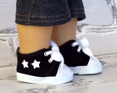 American Boy Doll Shoes, Black High Tops with White Stars, Black Tennis Shoes