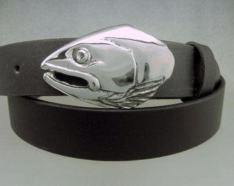 Salmon Solid Sterling Silver Belt Buckle  Hand Made