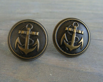 Antique Bronze Anchor Earrings Post Stud Button Navy Nautical Vintage Style Gold Sea Shell Ocean Beach Army