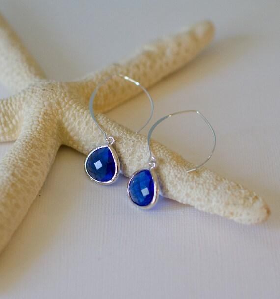 Drop Earrings,Blue, Sterling Silver, teardrop, nature, beach-inspired, bezel glass, charm, jewelry,  Handmade in Santa Cruz