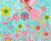 Garden Fairy Original Painting for Children Decor, Original Art