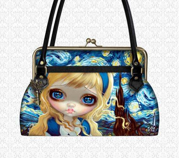 Custom Purse Alice in Starry Night Wonderland Xotic designer handbag, shoulder bag top handle bag kiss lock closure Jasmine Becket-Griffith