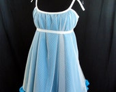 Custom Ruffled Babydoll Swing Dress with Swiss Dot Tulle Overlay in Your Choice of Colors
