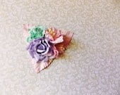 Lavender Aqua blue Blush Pink Roses Lilies Handmade Millinery Corsage baby kids hair bow headband ooak clip supply Vintage Style Flowers