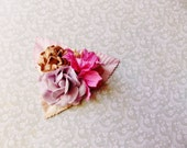 Lilac Lipstick Pink Malt Pastel Roses Lilies Handmade Millinery Corsage baby kids hair bow headband ooak clip supply Vintage Style Flowers