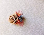 Malt Periwinkle Apricot Pink Roses Lilies Handmade Millinery Corsage baby kids hair bow headband ooak clip supply Vintage Style Flowers