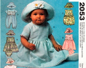 Easy McCall's UNCUT Pattern 2053 - Infants' Dress, Rompers in Two Lengths with Snap Crotch, Panties & Hat - All Sizes Included