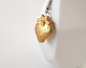Strawberry Locket Necklace -- Cute Brass Pendant -- Fruit Shaped Charm -- UK Shop -- 60% OFF Sale