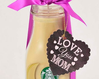 SALE 15% Off Christmas Coffee Gift for Mom Starbucks Frappuccino Coffee for Her Shabby Chic Candle Love You Mom Coffee Scented Gift for Her