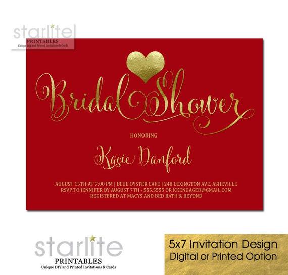 christmas bridal shower invitation red gold foil heart