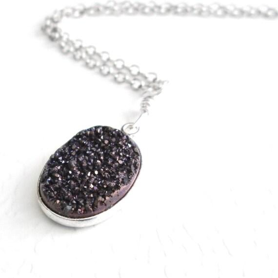 Dark Chocolate Titanium Pendant, Brown Druzy Necklace, Raw Druze Jewelry, Unique Gift Idea