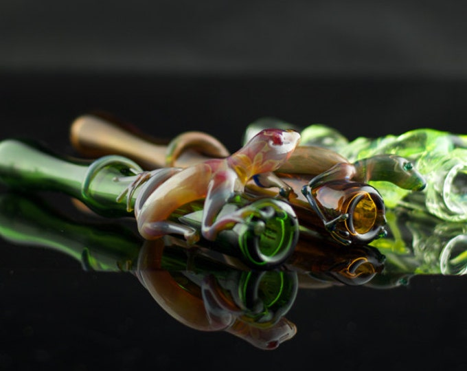 Lizard Glass Chillum Bat Pipe Made to Order in Your Choice of Color