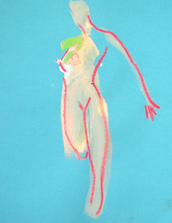 Nude painting of One minute pose 83.3, nude art, original, gesture sketch by Gretchen Kelly
