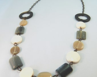 African Horn and bone long natural brass necklace by CURRICULUM