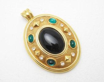 Vintage Rhinestone Locket Big Bold Pendant Enhancer Jewelry C3399