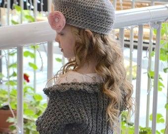 Girl's Crochet Hat - Gray Beret - Boho hat - Gray hat - Slouch hat - toddler hat - pink flower hair clip - girls newborn hat - grey hat