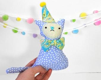 Plush Cat - PERIWINKLE the BIRTHDAY CAT plushie - Cat Stuffed Animal - Birthday Gifts