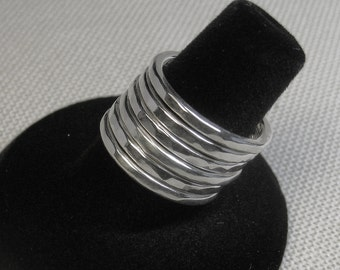 Stacking Rings, Thick, Chunky Sterling Silver Hammered in Size 7