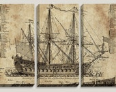 Sale! Old Ship Blueprint, Canvas Art, Nautical, Map, Boys, Office Decor, Mens Decor, Triptych, Man Cave, Vintage Decor, Wall, Pirate Ship