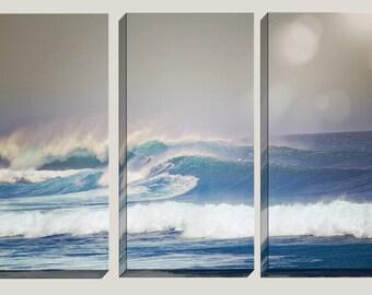 Triptych, Ocean Decor, Canvas Art, Photography, Ocean Waves, Caribbean, Beach, Central America, Coastal, Triptych, Home Decor, Surf Decor