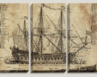 Sale! Old Ship Blueprint, Canvas Art, Nautical, Map, Boys, Office Decor, Mens Decor, Triptych, Man Cave, Vintage Decor, Wall, Pirate Ship