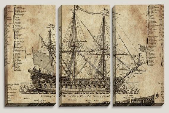 Sale old ship blueprint canvas art nautical map boys for Old blueprints for sale