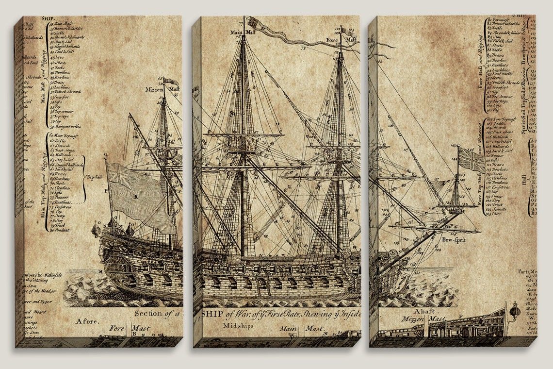 sale old ship blueprint canvas art nautical map boys