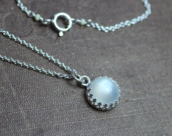 Moonstone Necklace Crown Bezel Set Sterling Silver Chain Gallery Setting Moonstone Cabochon Necklace