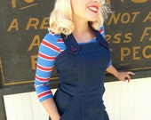 Darling 1940s style Rosie overalls  XS to XL indigo denim