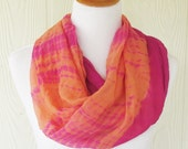 Orange and Pink Infinity Scarf, Tie dye effect Scarf, Circle Scarf, Loop Scarf, Women's Scarves, Eclectasie