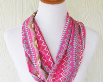 Pink Tribal Print Infinity Scarf, Women's Scarf , Circle Scarf, Loop Scarf, Necklace Scarf, Scarves, Eclectasie