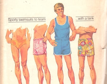 Simplicity 5046 1970s Mens Tank Top T Shirt Bathing Suit Pattern Adult Vintage Sewing Pattern Size Large  Chest 42 44
