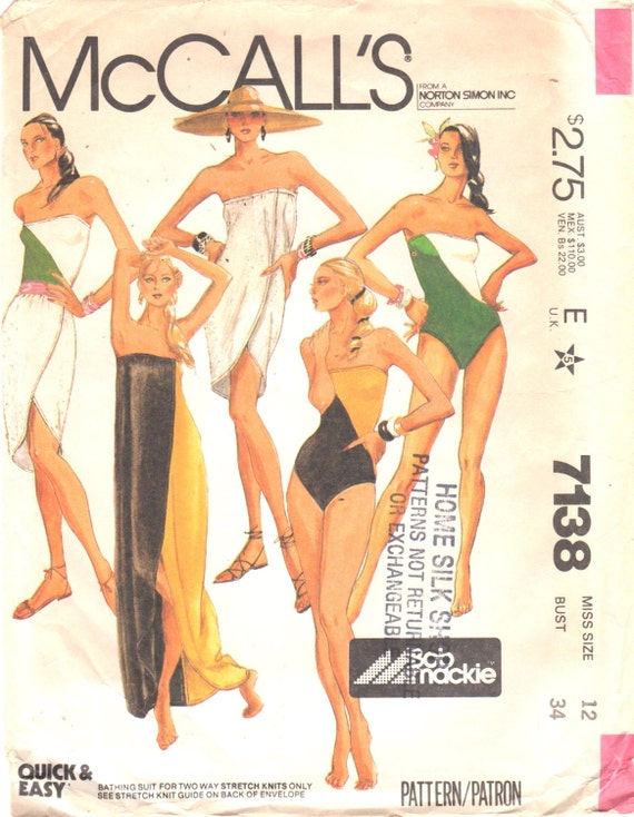 1980s Bob Mackie swimsuit and cover-up pattern McCall's 7138