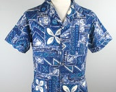 Vintage 60s Mens Tiki Style Shirt L in blues by Surf King