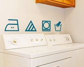 Set of 4 Laundry Room Wall Decal Laundry Symbols,  Laundry Wall Decals,  Custom Decal -Your Choice of Symbols,  Laundry Sign