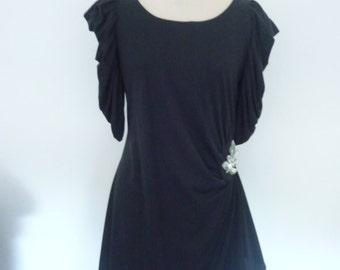 1980's vintage black evening dress size 14
