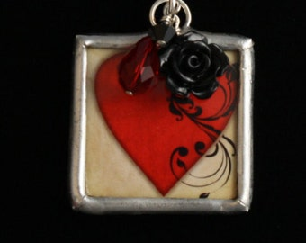For GRANDMOTHER - Reversible, Hand Soldered Charm Necklace with Red Heart and Baubles - Mother's Day- ME Designs