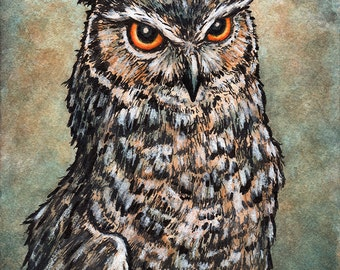 Owl Portrait, signed and matted print of original watercolour painting by Eden Bachelder, ready to frame.