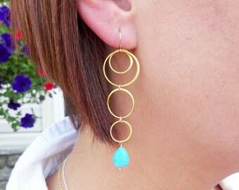 Turquoise Earrings, Gold hoop earrings, Sleeping Beauty Turquoise, Long Gold earrings, statement earrings, teal blue, natural turquoise