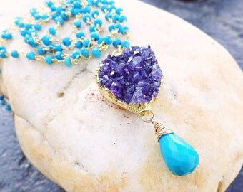 Long Amethyst Druzy Necklace, Long Turquoise necklace, Arizona Turquoise, Druzy pendant, Sleeping beauty turquoise, February birthstone